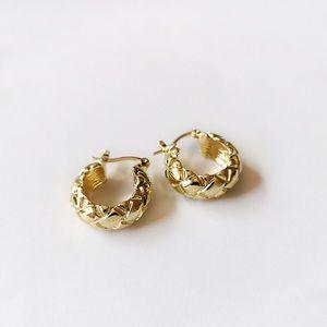 Geometric Thick Weave Gold Chunky Hoop Earrings